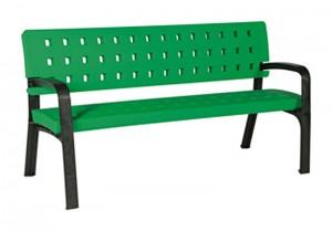 banco de polietileno verde para pistas de padel y tenis