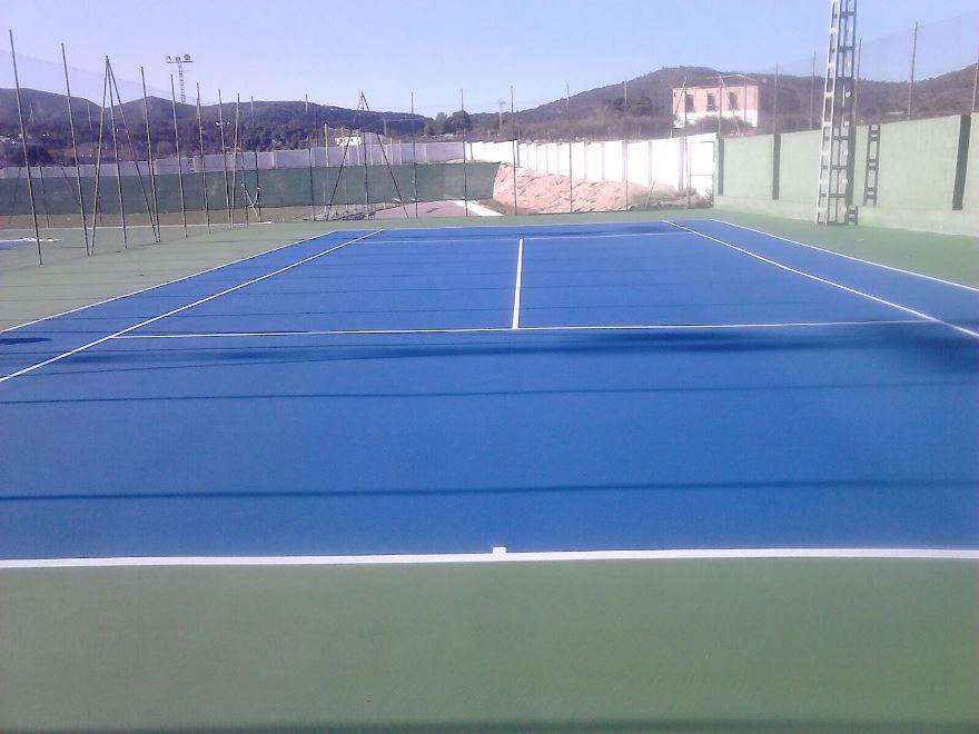 construccion pista de tenis de resina celabasa sport
